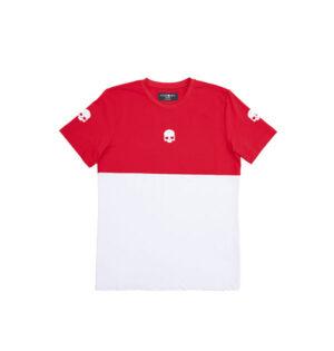 tech t shirt italia blanco-rojo