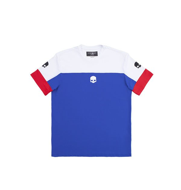 tech t shirt azul y blanco