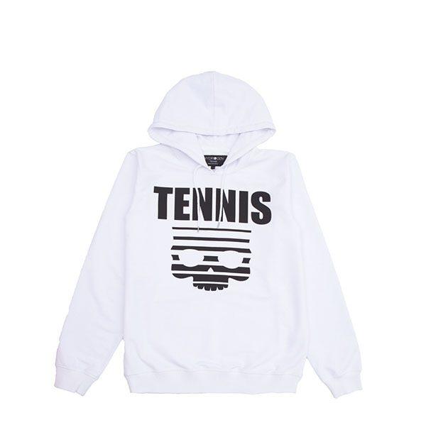 tennis skull hoodie blanco
