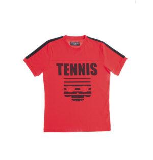 tennis skull t shirt rojo